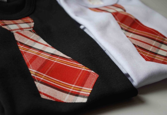 BABY BODYSUITS  with a Red plaid NECKTIE Appliqué ......very cute twins baby gift