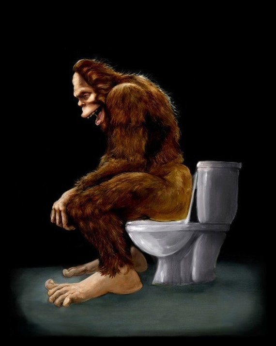 Bigfoot breaks into some Dude's Cabin and Totally takes a fat Dump in his toilet