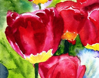 Red Tulip Art Fine Art Print Original Watercolor Floral Print  Red Yellow FRAMEABLE ART Giclee Wedding Mother's Day Gift Collectable