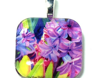 Spring Flower Jewelry Hyacinth -Glass Pendant Art Jewelry Necklace Original Painting Glass Silver Wedding  Box Jewelry Box Mother's Day Gift