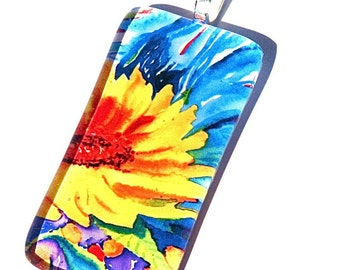 Sunflower Necklace-Glass Pendant Art Jewelry Pendant Original Painting Signed Glass Silver Gift Woman Keepsake Jewelry Box Bridesmaid Bride