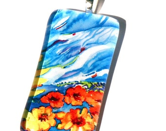 Sunflowers Pendant-Necklace-Original Painting-By Cynthia Van Horne Ehrlich-Wedding-Bridesmaid-Bride-Mother of The Bride-Jewelry Box-Gift