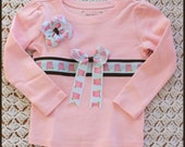 Little Owl Ribbon Tee and Hairbow Size 4T SALE 1/2 OFF