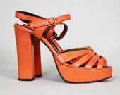 70's Vintage Glam Rock Orange Platform Shoes