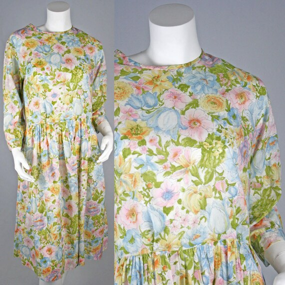 25% OFF FLASH SALE - 50's Vintage Floral Watercolor Light Day Dress