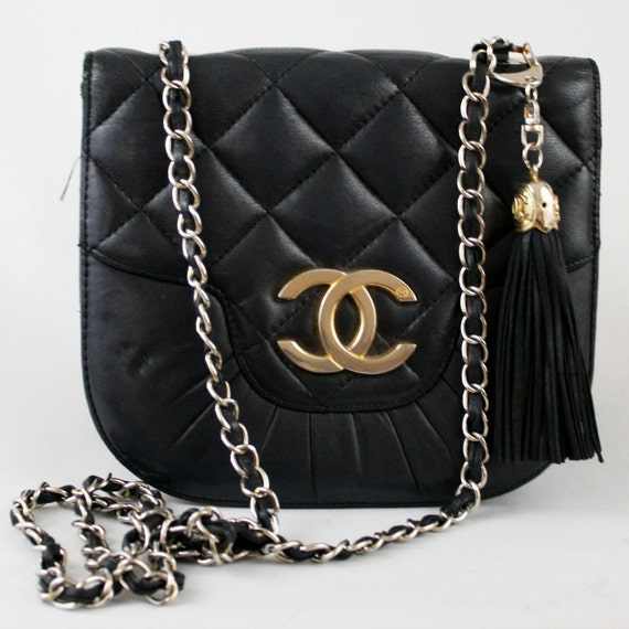 Reserved for sarahkort28211 -80's Vintage Chanel Style Black Leather Logo Purse