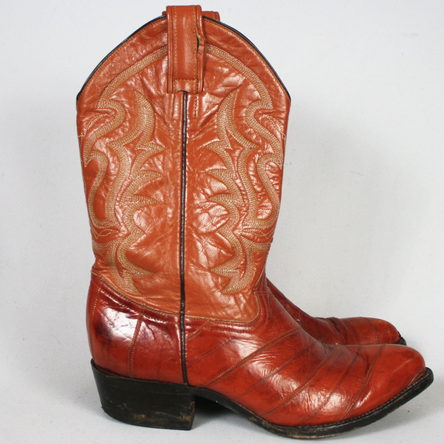 80 s vintage leather and eel skin cowboy boots s