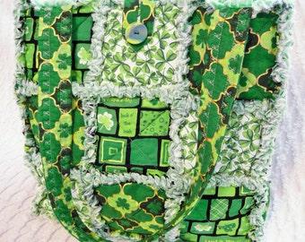 Irish - St. Patricks Rag Quilt Tote - Green - Shamrocks - Clover - Handmade Bag