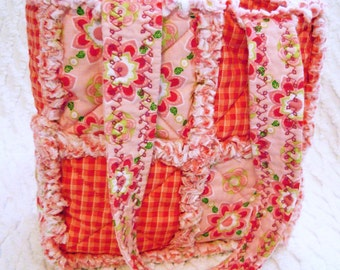 Rag Quilt Tote for Girl - Red Gingham - red, pink - Girl Handbag - Pink Girl Tote - Pink Child Purse