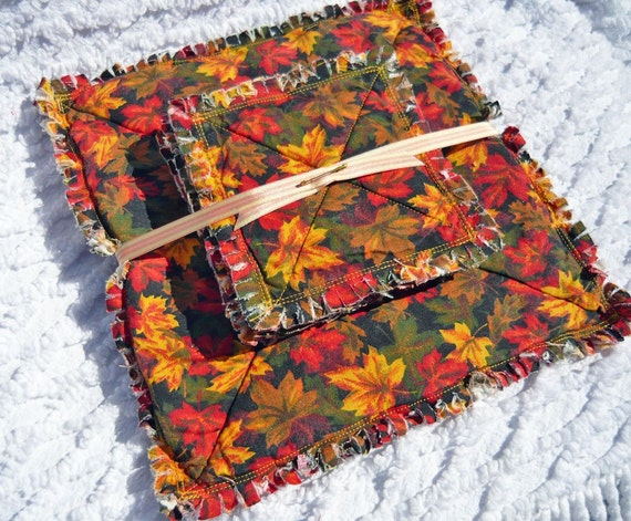 Autumn Colors Rag Quilt Candle Mat and Coaster Set, Handmade