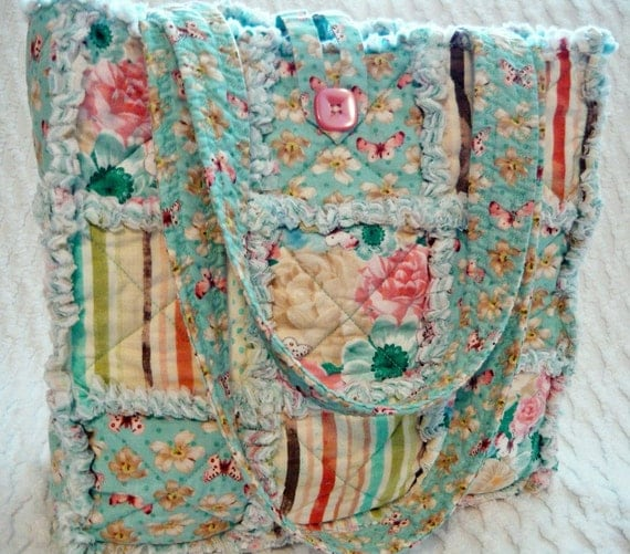 Rag Quilt Tote, Butterflies and Roses, Pink, Aqua, Handmade