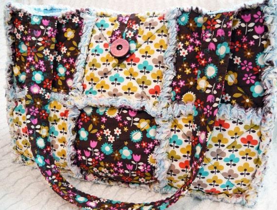 Rag Quilt Tote, Diaper Bag, Brown, Michael Miller Bold Floral Prints, Bottle Pockets, Handmade