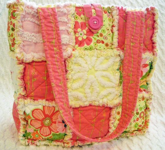 Rag Quilt Tote, Vintage Chenille, Pink,  Retro Flowers, Yellow, Green, Handmade Bag