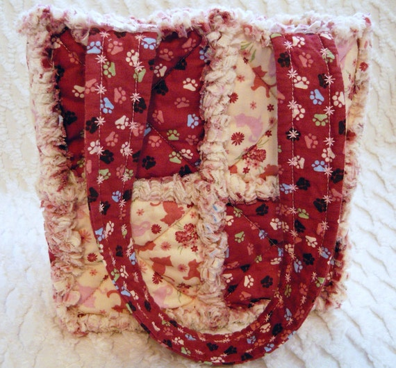 Rag Quilt Tote for Girl, Kitties, Handmade
