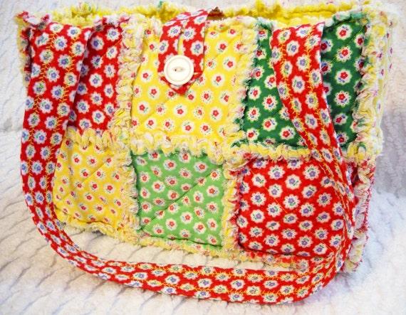 Rag Quilt Purse, Colorful Flower Sugar Fabrics, Handmade