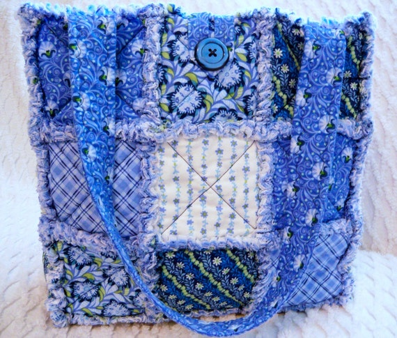 Rag Quilt Tote, Blue Ivy and Plaid, Handmade
