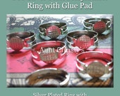 25 DIY Adjustable Silver Plated Ring Blank Glue On Pad 8mm R2 - DIY- Perfect For Bottle Caps - Glass Tiles- Scrabbles Tiles-  Aunt Christy