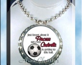 Just Forget About It Princess Not Even Cinderella is Getting to this Ball Soccer Bottle Cap Ball Chain Necklace