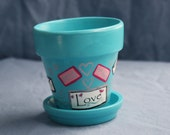 Love Letters Snailmail Love super sweet petite Flowerpot and Saucer