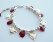 Simply Lovely Red and Silver Beaded Charm Bracelet