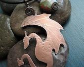 Copper Dragon Necklace by Serpent's Dance Designs Small Dragon with Jasper Dangle