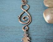 Hammered Copper Oak Leaf Dangle Necklace on Leather Cord