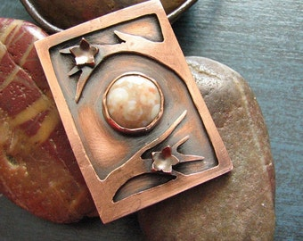 Flowering Branches Copper Pendant with Ocean Jasper on Leather Cord