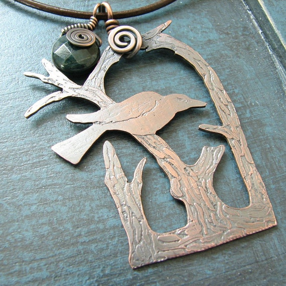 Copper and Moss Agate Perching Crow Necklace