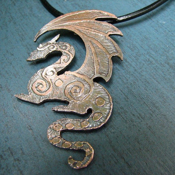 Copper Dragon Necklace on Leather Cord Etched