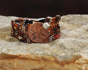 Jewelry - Bead Weaving - Free Form Peyote Stitch Beaded Bracelet - DISCOUNTED