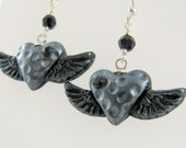 Winged Heart Silver Black Earrings