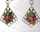 Earrings Polymer Roses Pink Victorian Fan Silver