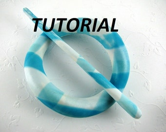 Tutorial Polymer Clay PDF Hair Accessory Scarf Pin Pony Tail Pin