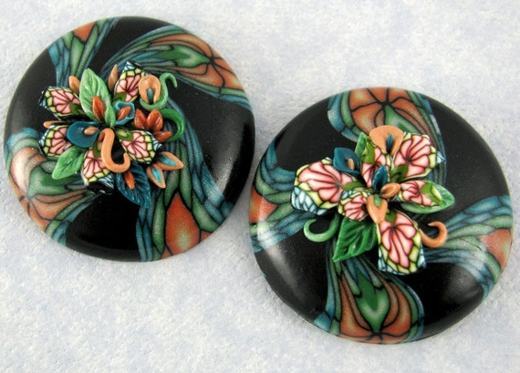 Cabochon Applique Floral Matching Pair Large Coral Turquoise