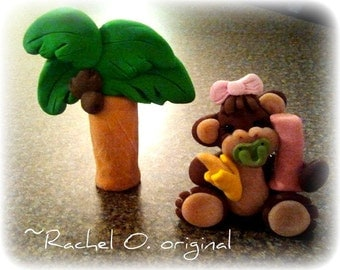 Baby Monkey And Palm Tree Cake topper