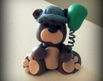 Teddy Bear train conductor birthday cake topper