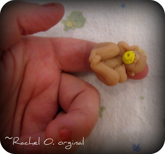 SALE was 10.00 Teeny Tiny Hand sculpted polymer clay 1 inch baby girl or boy