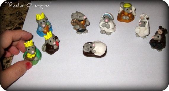 9 piece Mice Nativity Set