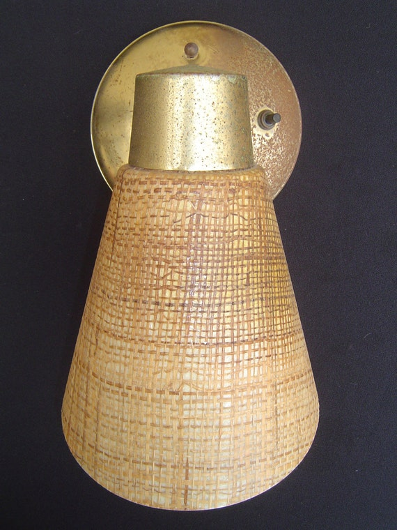 Mid Century Danish Modern Wall Sconce with Tweed like Cone