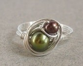 Mom And Baby Ring, Green Pearl Brown Pearl Sterling Silver Ring Wire Nest Ring