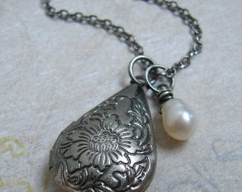 Antique Teardrop Locket Necklace White Pearl Charm Oxidized Sterling Silver