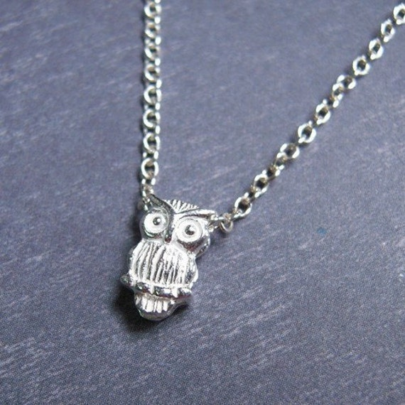 Tiny Owl Necklace - Sterling Silver
