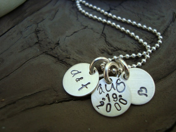 This was the day .. custom handstamped tiny trio disk personalized WEDDING sterling silver charm necklace