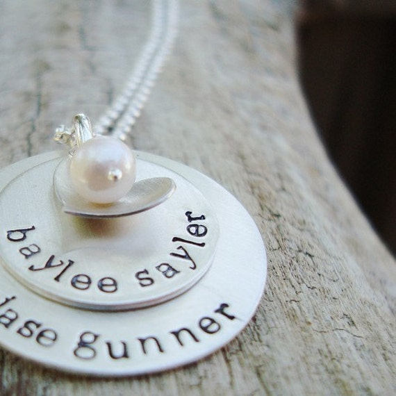 personalized grandma jewelry... hand stamped mothers necklace.. personalized name necklace