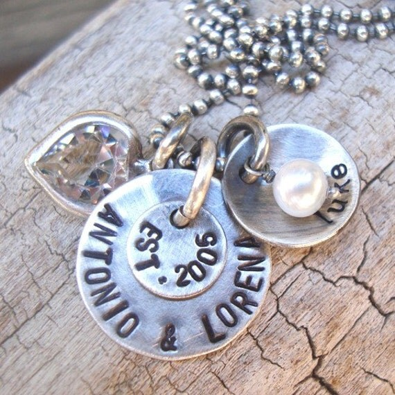 rustic hand stamped jewelry sterling silver mothers family necklace