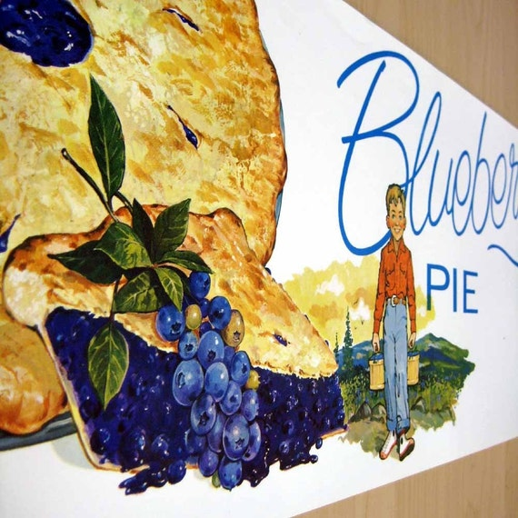 blueberry pie - vintage bakery poster - LAST  ONE
