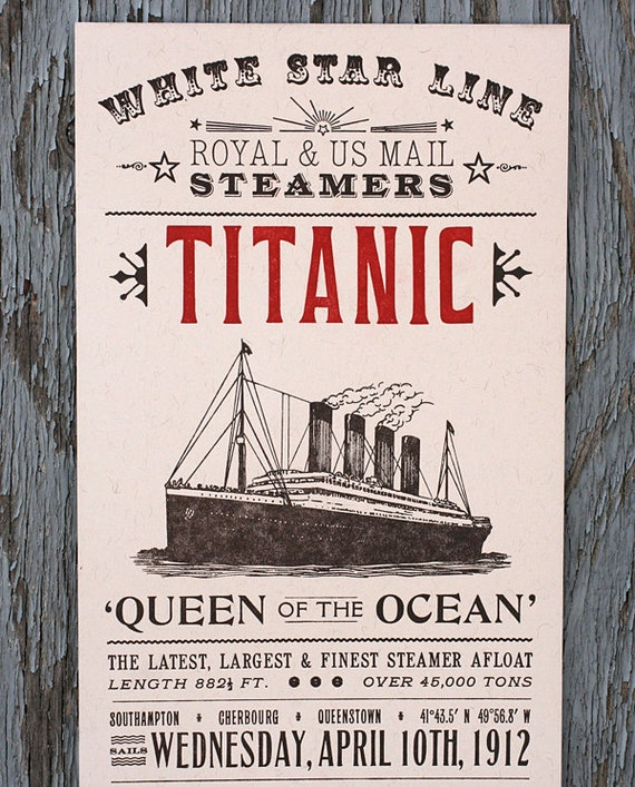 Items similar to Titanic letterpress print on Etsy