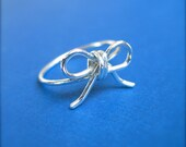 Sterling Silver Bow Ring, Handmade Ring, Wire Ring