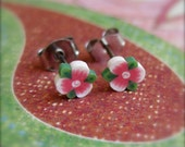 Tiny Flower Stud Earrings, Hibiscus Studs