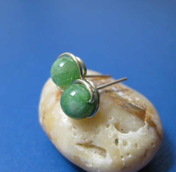 Silver and Jade Studs
